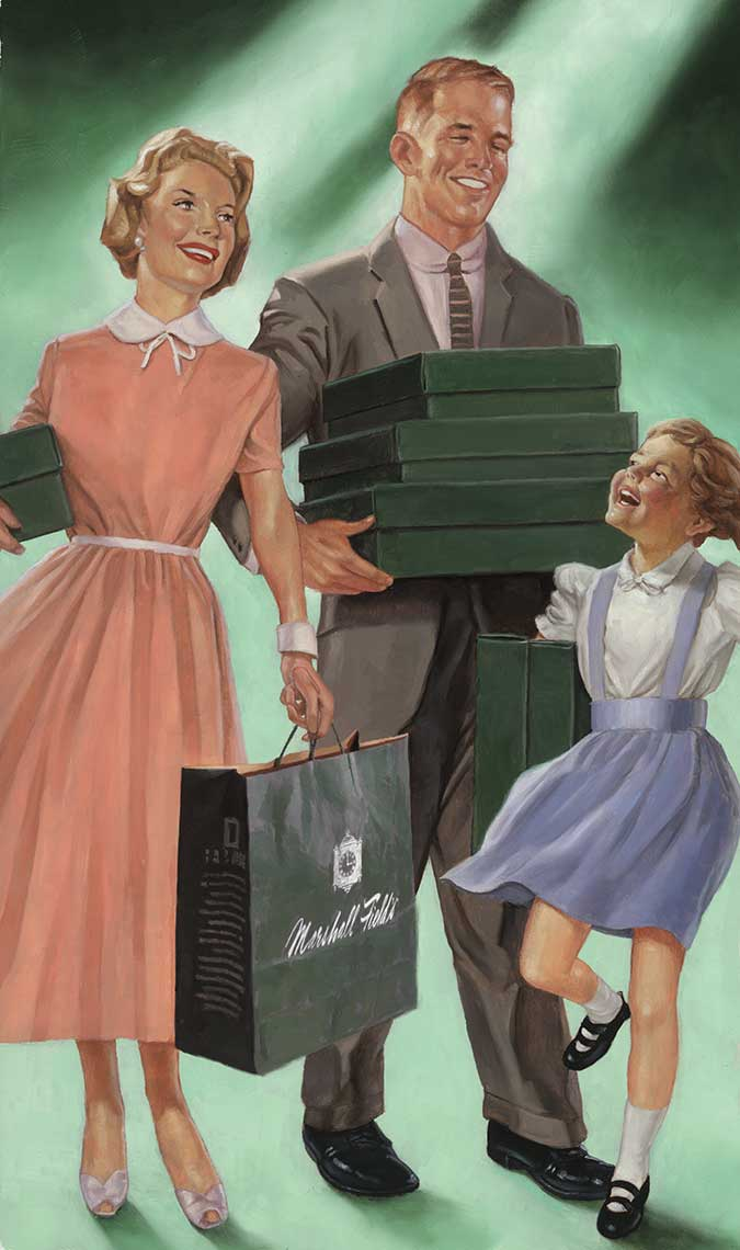 1950s-family-out-shopping-for-the-day-oil painting-retro