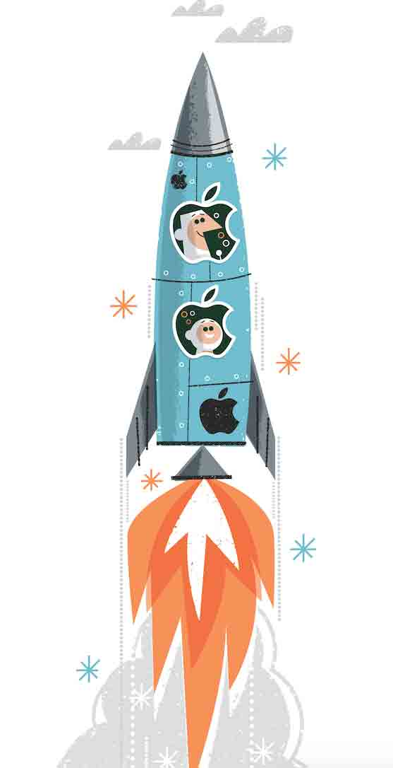 Apple branded rocket with Happy astronautand Chimp side kick in space capsule blasting off