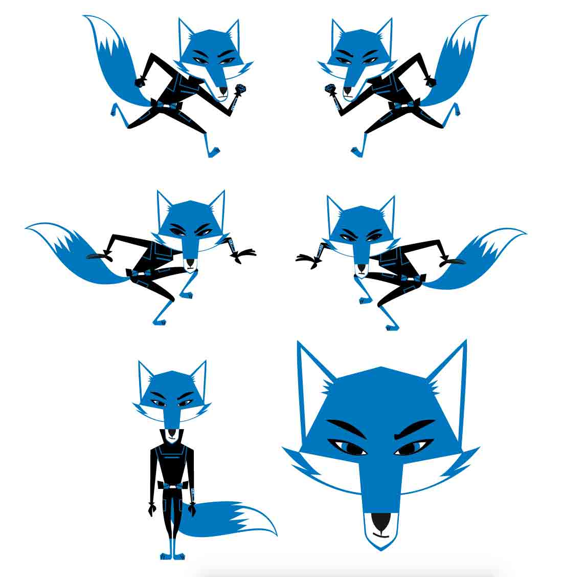 Blue Fox animated character-running jumping and standing