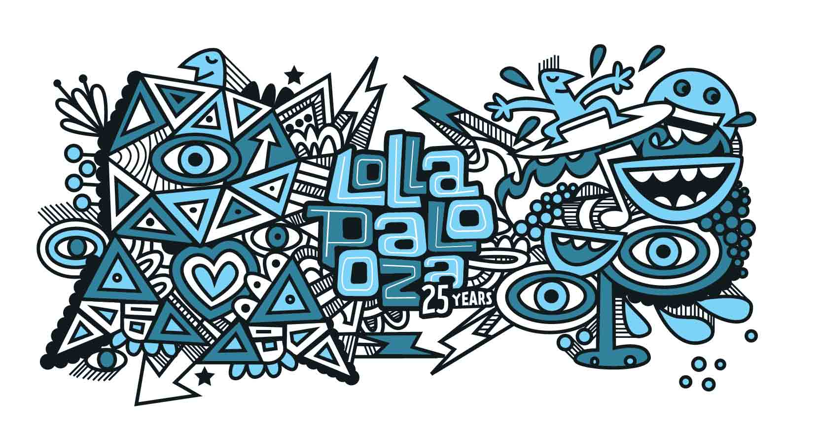 Blue Lollapalooza Graphic Line-Camelbak Bottle Design