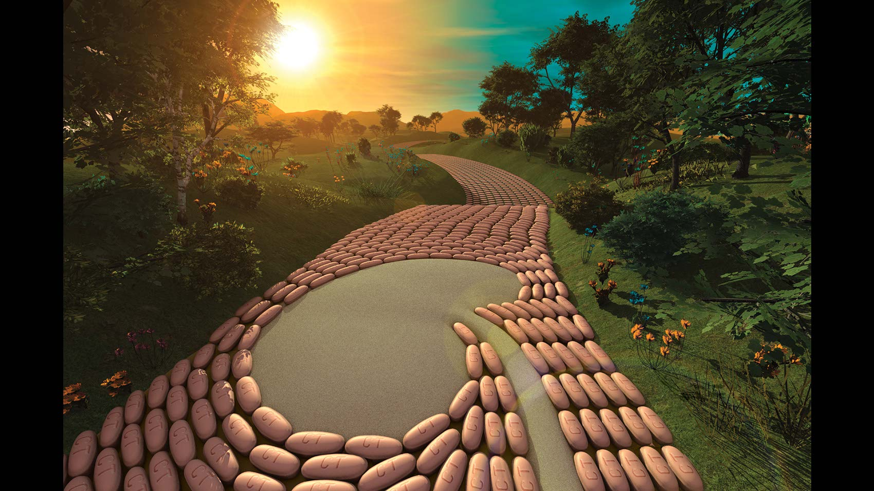 Pills forming Bricks on Road To Recovery-CGI