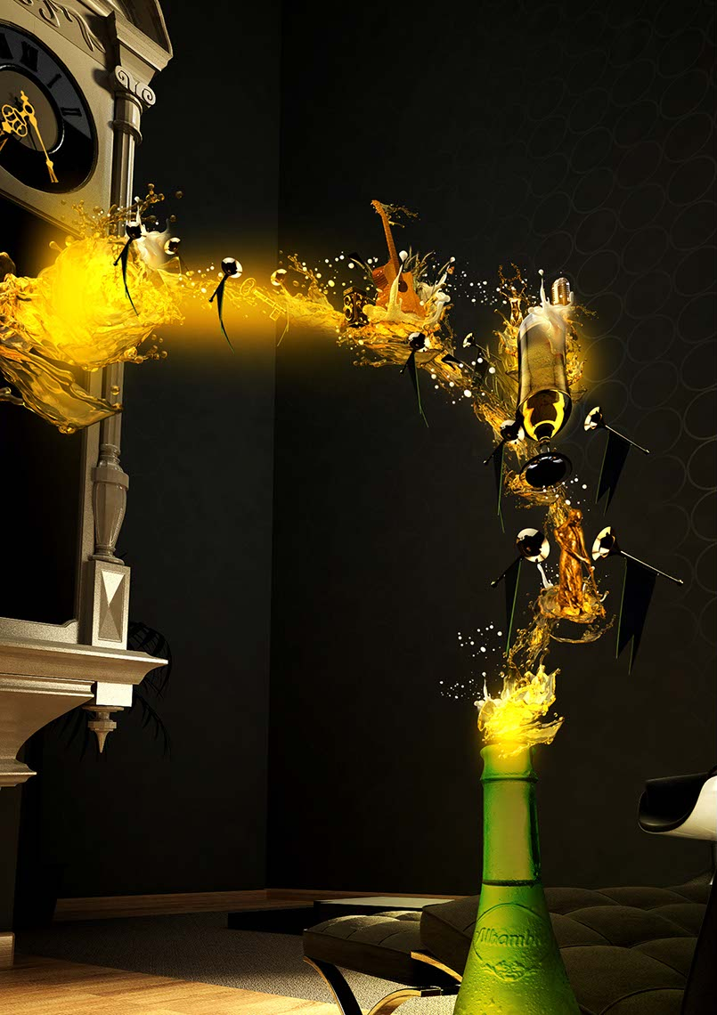 CGI-liquids-splash with wave of musical instruments