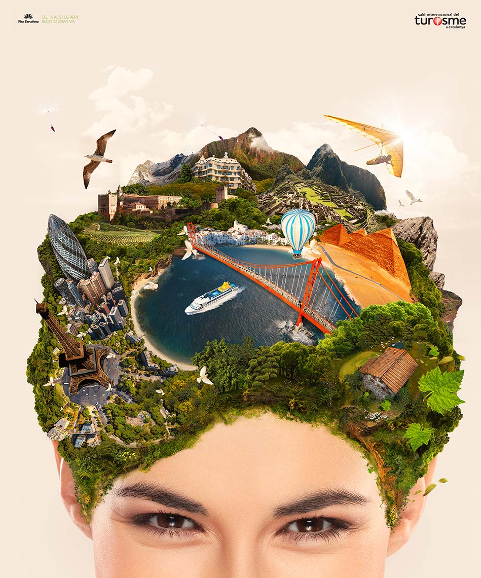 CGI-photography world travel on womans head