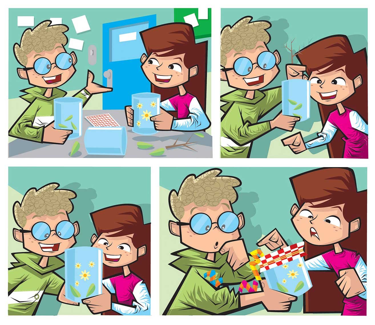Comic-Book-Frames-bi-speckled-boy-speaking-with-girl-in-schoolroom