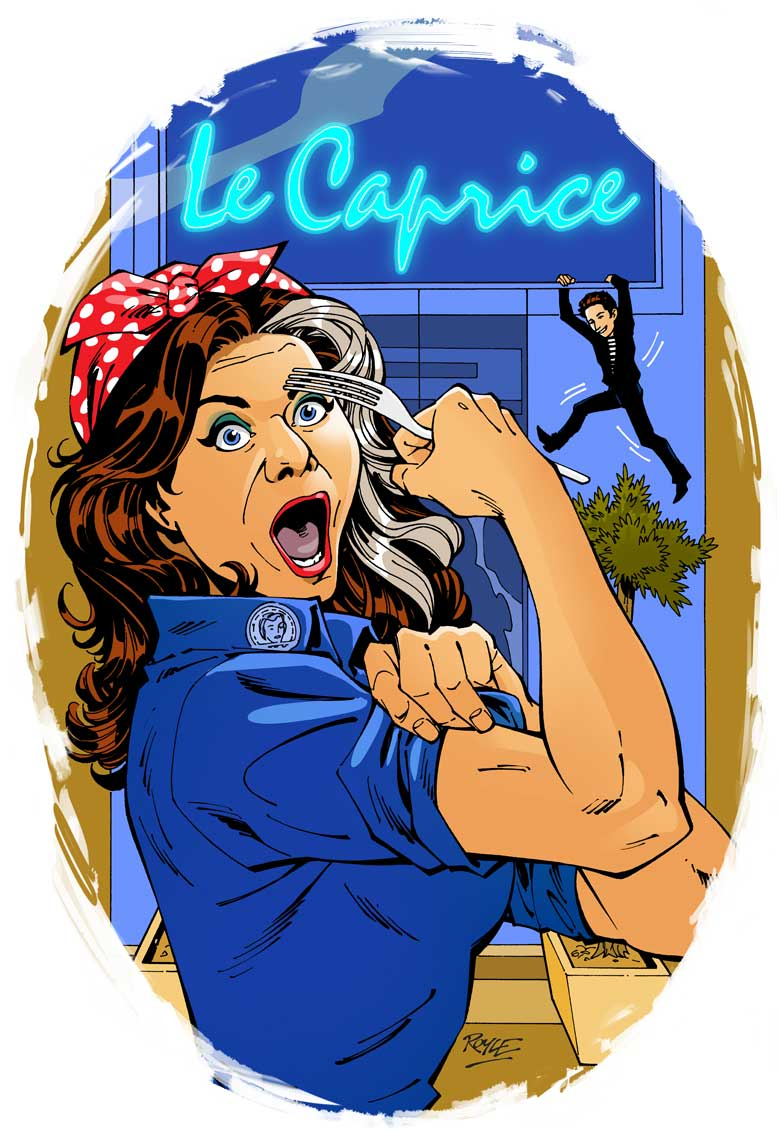 Comic book style portrait of Catilyn Moran in Rosie the Rivoter pose