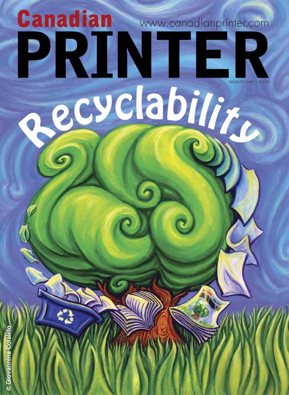 Cover for Canadian Printer Magazine, Rogers Publishing Limited, Sustainability Recyclability