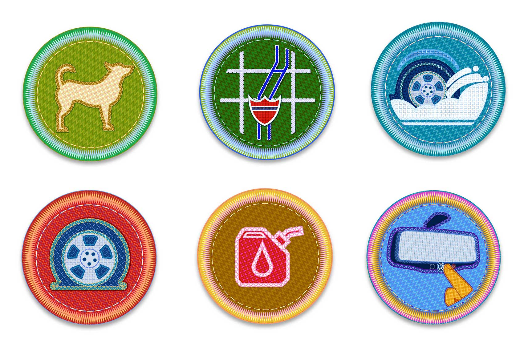 Dog-Map-Snow-Flat Tire-Low Gas-Rear View Mirror-Icon Patches