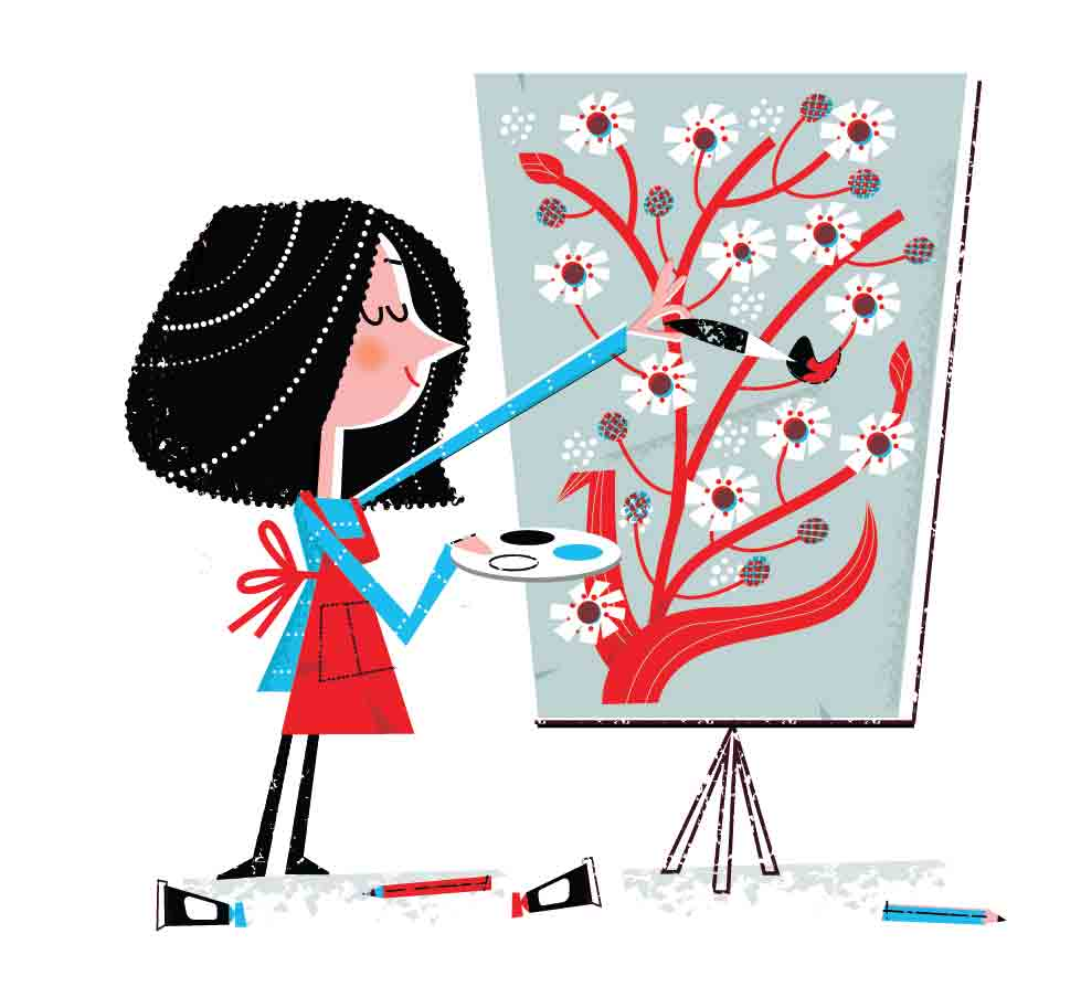 Female artist60s retro cartoon style- painting tree with animated tree