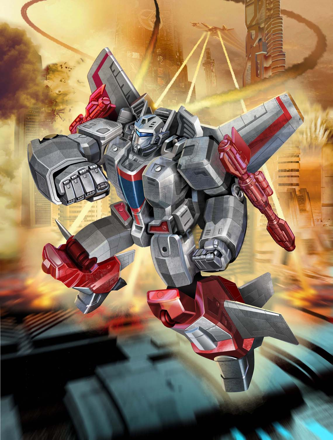 Gray and Red Transformer