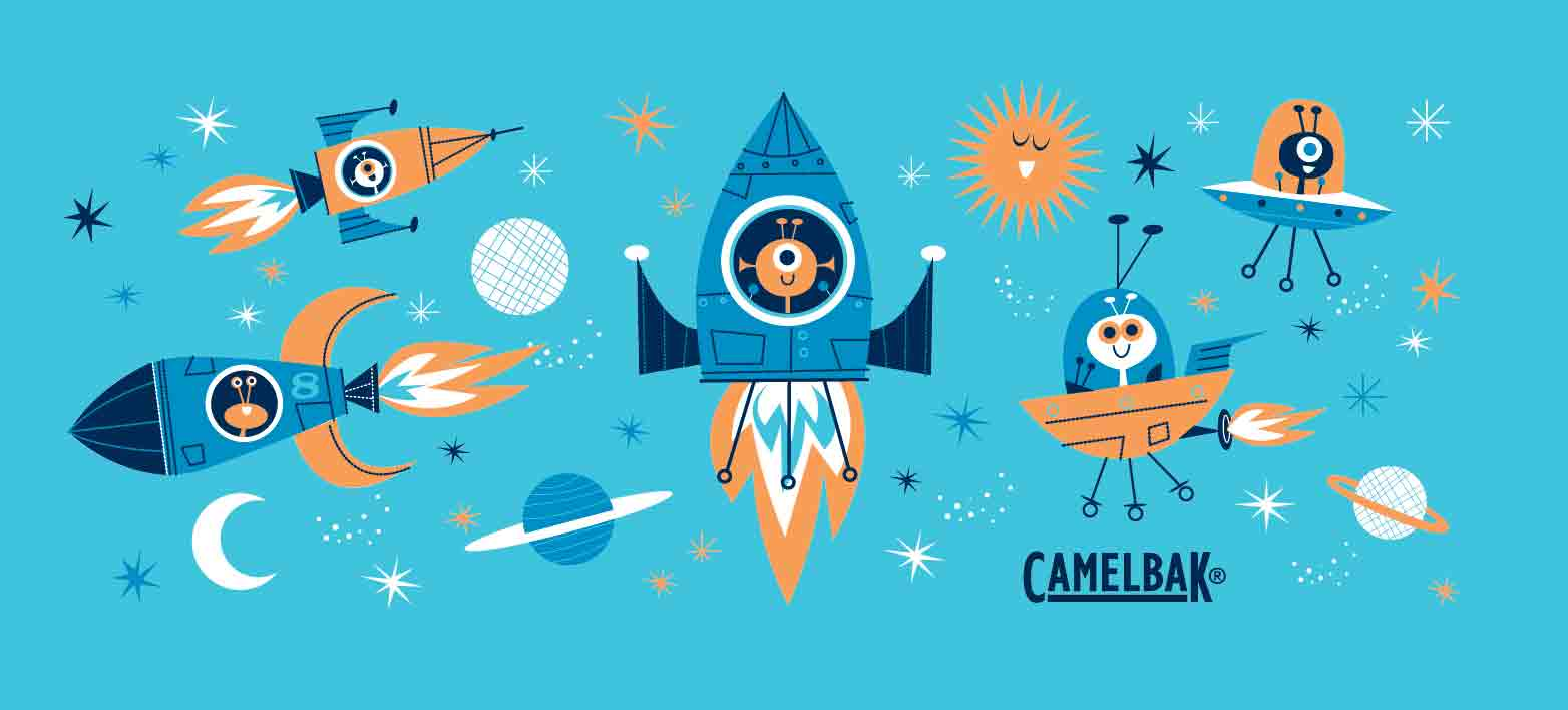 Happy Aliens flying in rocket ships for Camelback festival water bottle