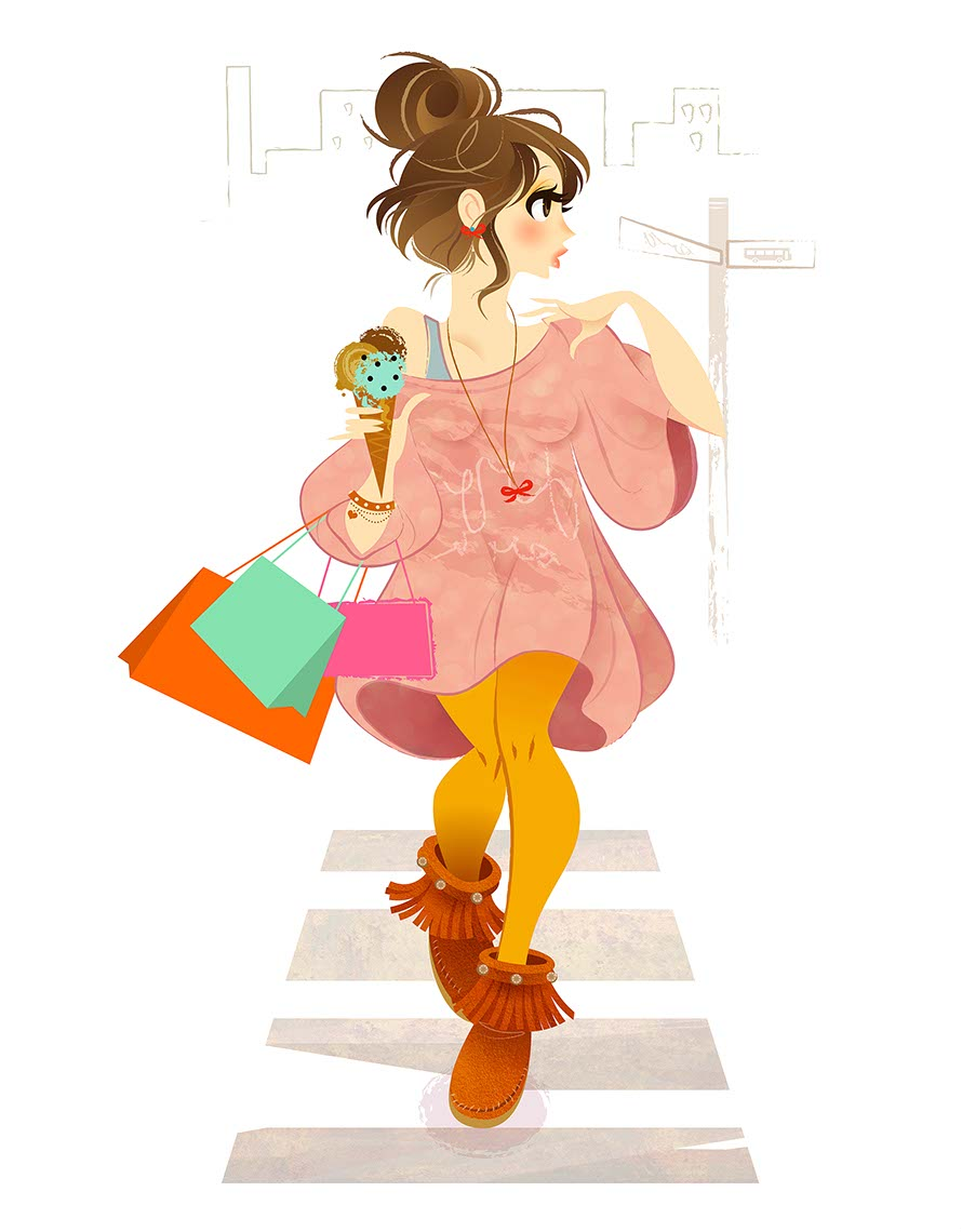 Anime People and Characters_brunette shopping bags