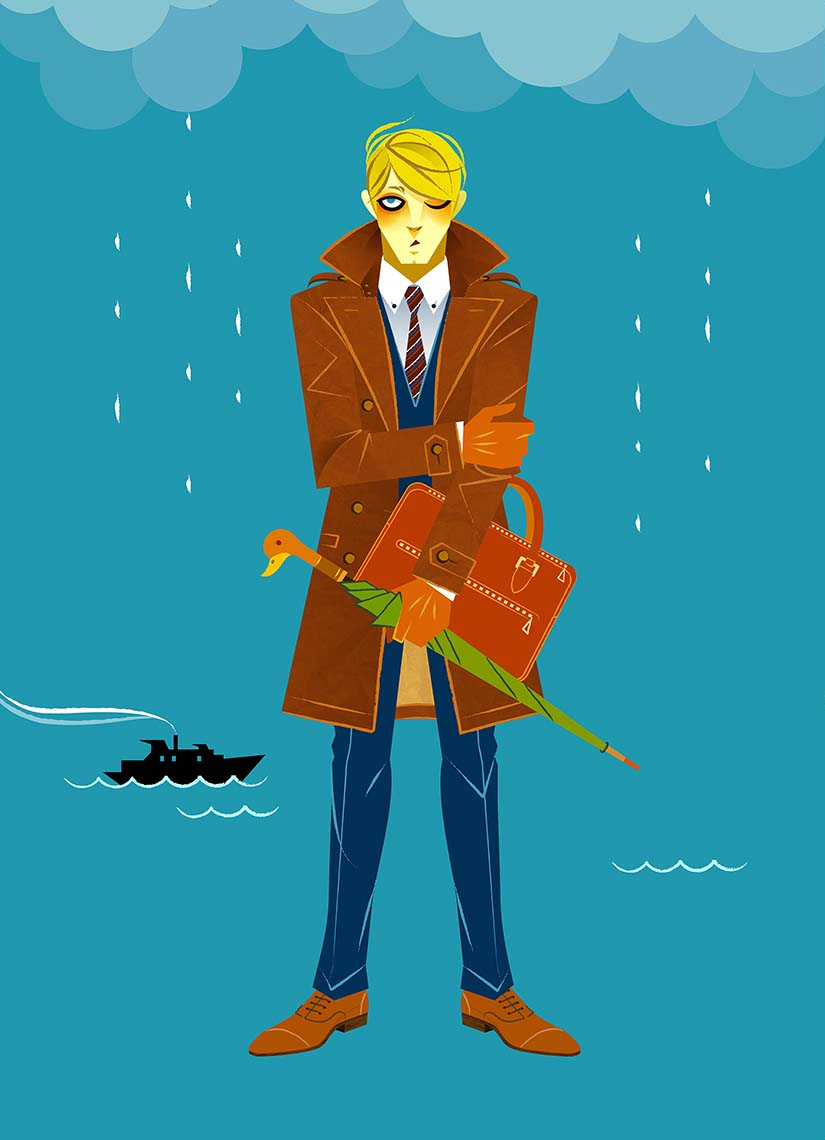 Hyaku-Anime People and Characters_buisness man on a rainy day