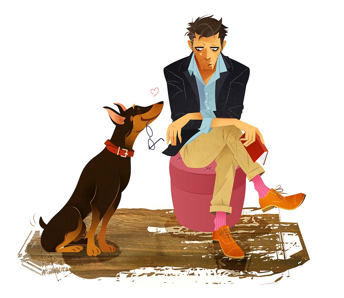 Hyaku-Anime People and Characters_lonley man with dog