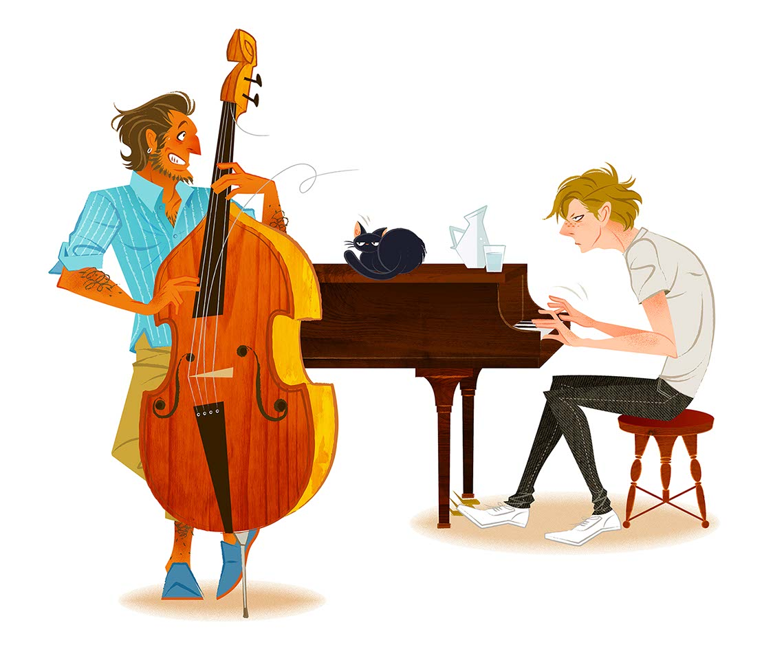 Hyaku-Anime People and Characters_man playing piano and another man playing the upright bass