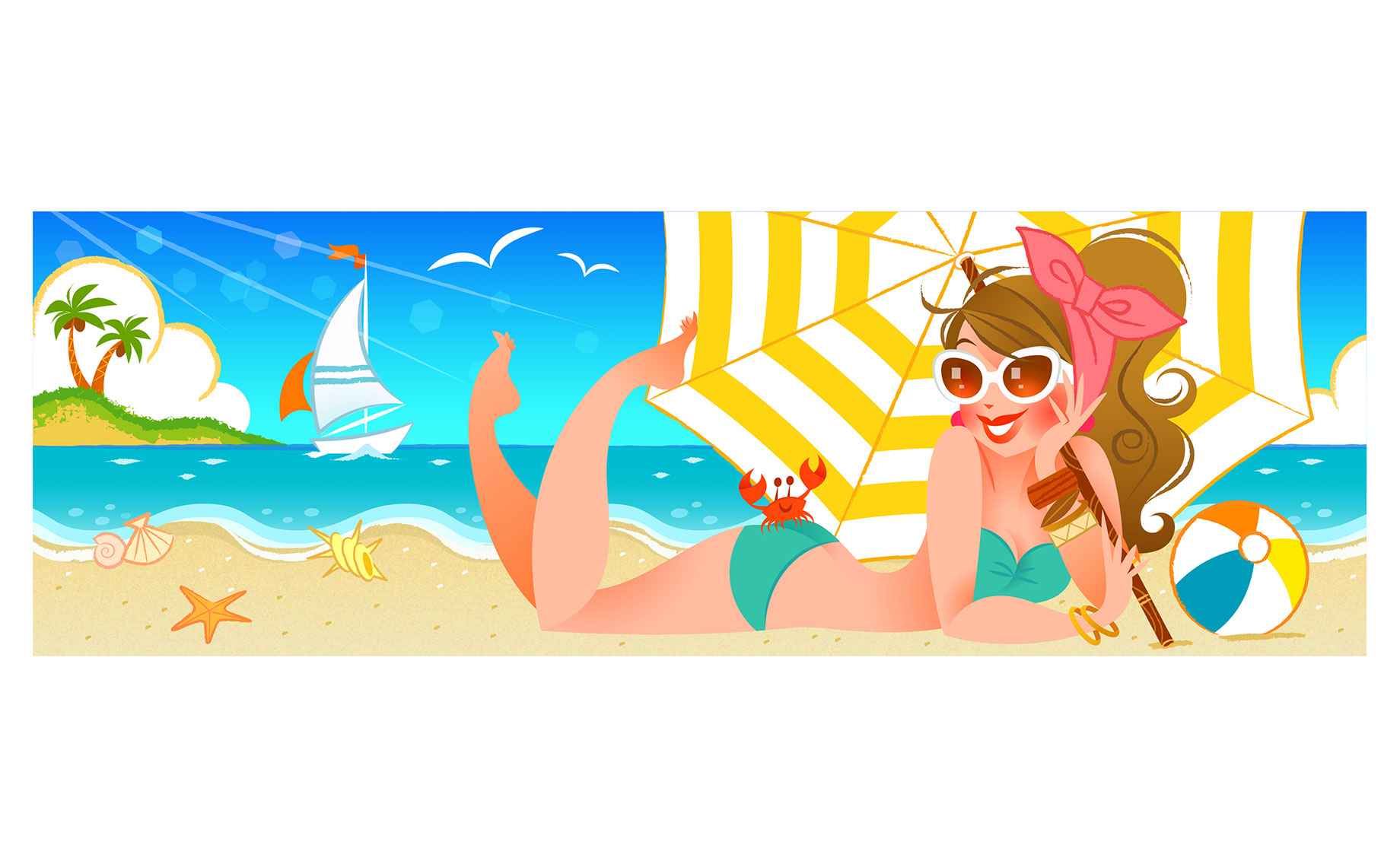 Hyaku-Anime People and Characters_woman in bikini relaxing at the beach