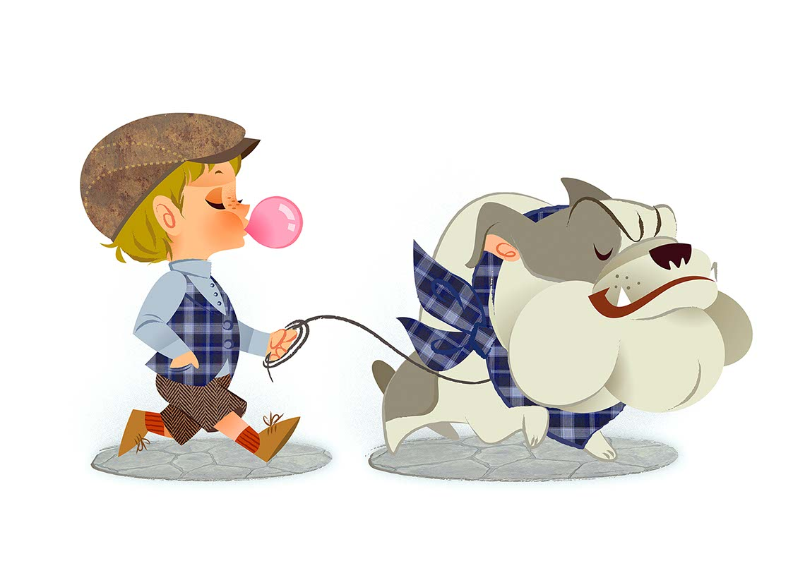 Hyaku-Anime People and Characters_younger boy blowing bubble gum bubble & walking dog