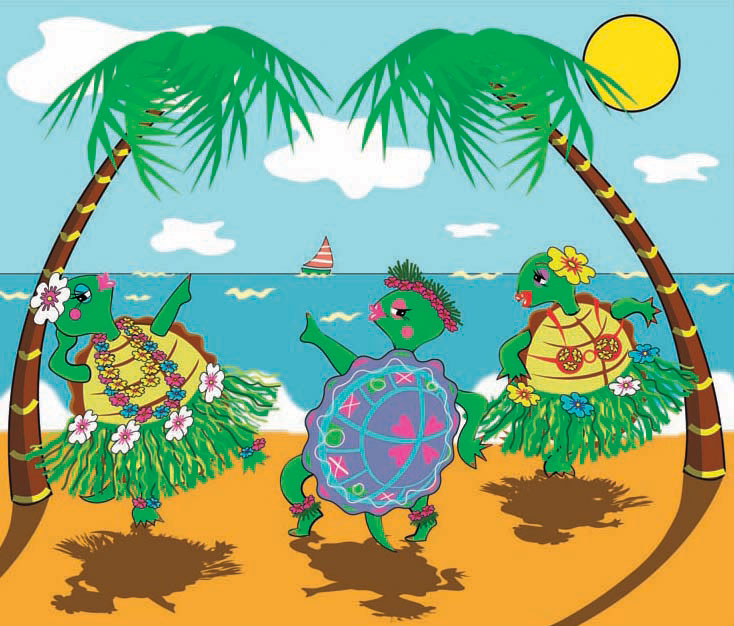 Illustration-Animals_Dancing beach turtles-Pamela Hamilton