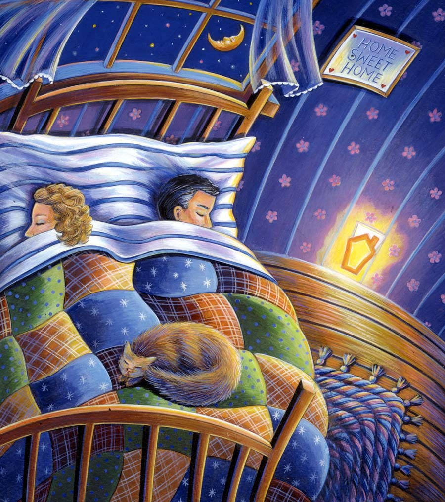 Illustration-Cartoons and Characters_Children and cat sleeping-Pamela Hamilton