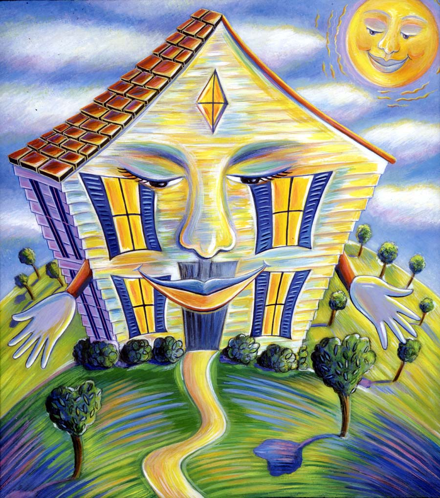 Illustration-Cartoons and Characters_Smiling house-Pamela Hamilton
