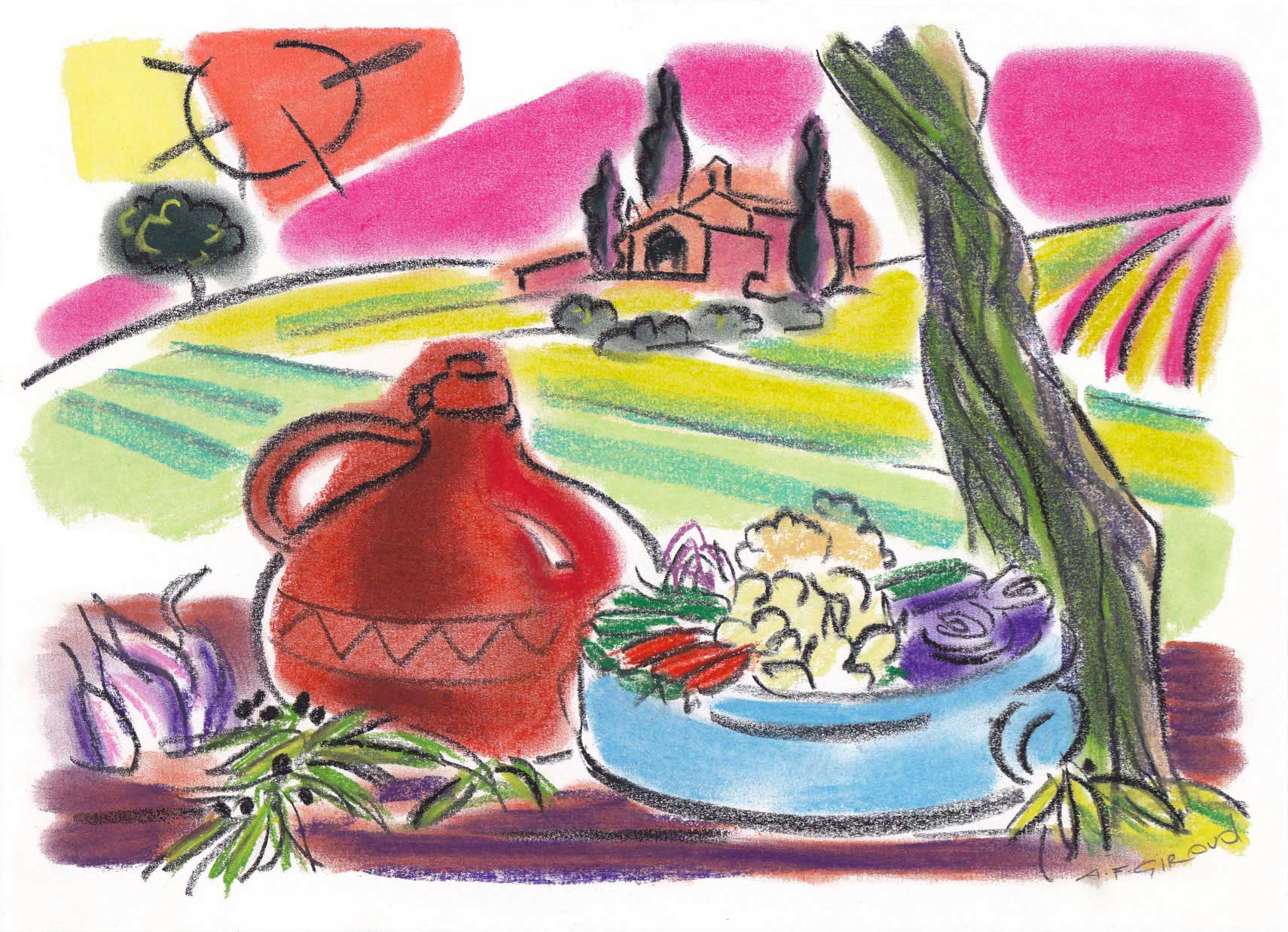 Illustration-food-wine-with_Landscapes_Picnic-Salad-Provence-annie-france-giroud