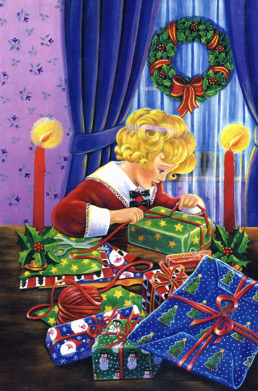 Illustration-girl wrapping presents1-Pamela Hamilton