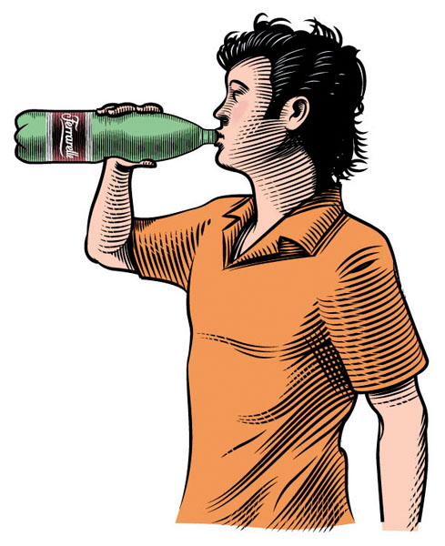 Illustration_People_Ferrarelle Guzzling-Francesco Favero