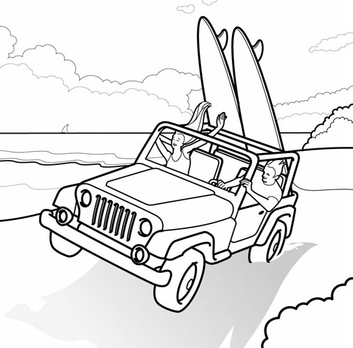 Illustration_People_Jeep Wrangler Surfing-Francesco Favero