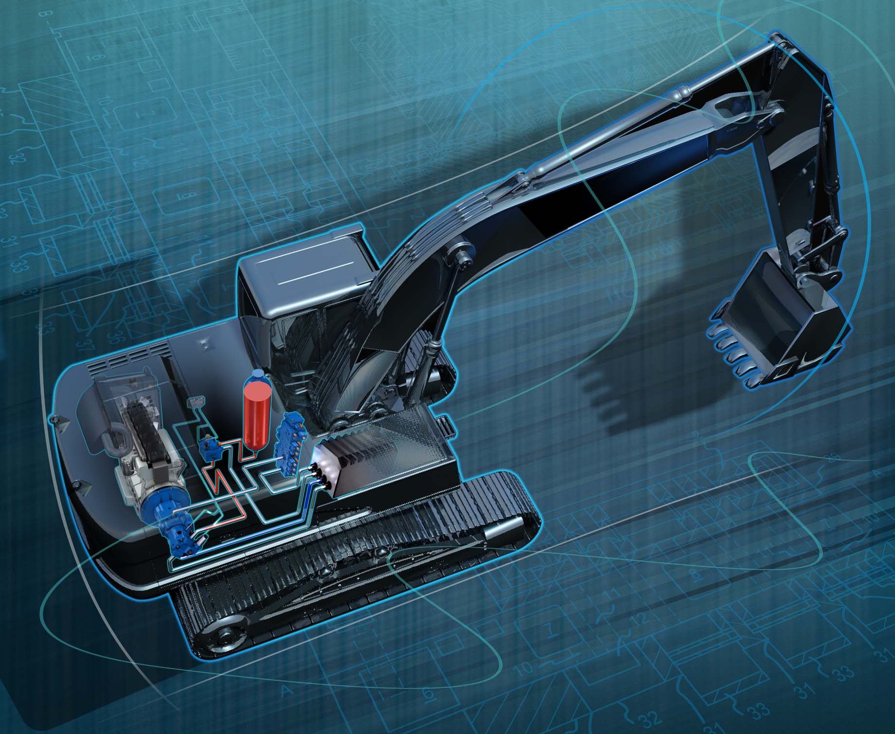 Interior blueprint excavator