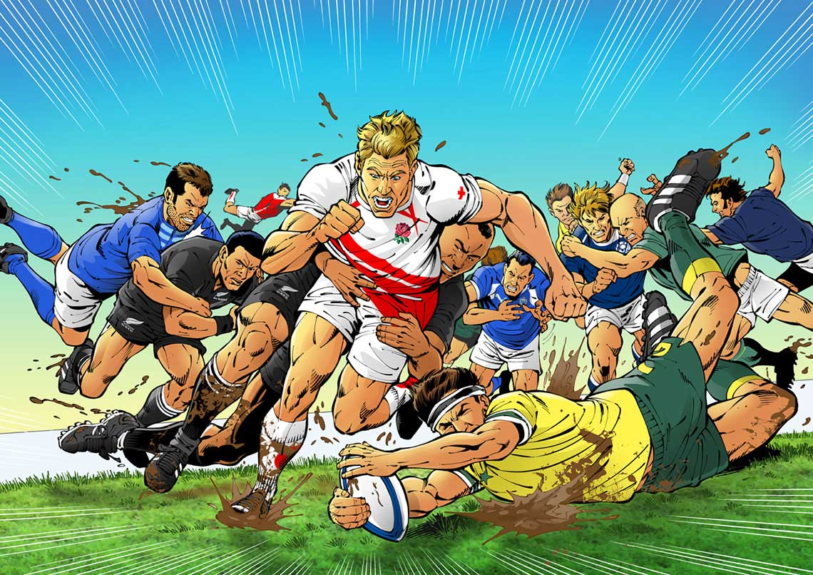 John-Royle-people-comics-FHM-world-rugby-scene-players-diving-for-ball-on-pitch