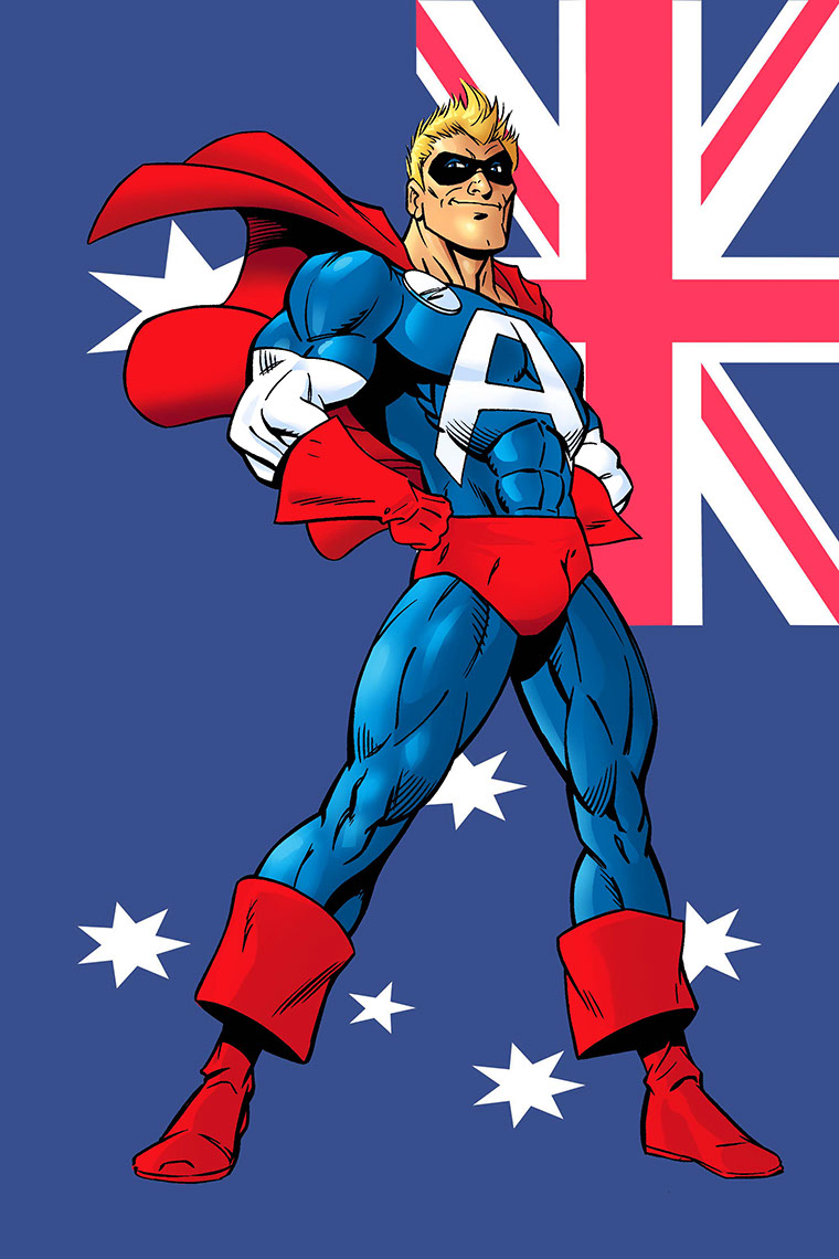 John Royle-cartoon-and-characters-comics-aussie-bum-superhereo-standing-with-union-jack