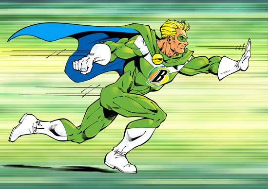 John Royle-cartoon-and-characters-comics-superhero-bountyman-running-profile-with-hand-out