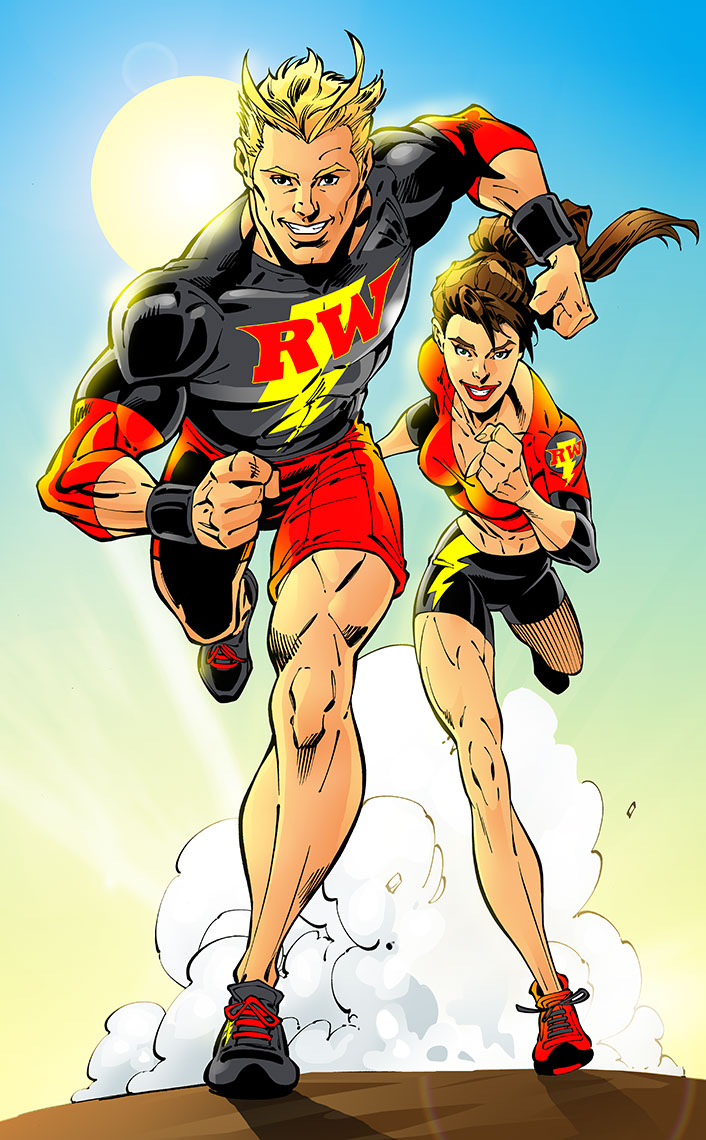 John Royle-people-comics-running--heros-guy--girl-running-at-viewer