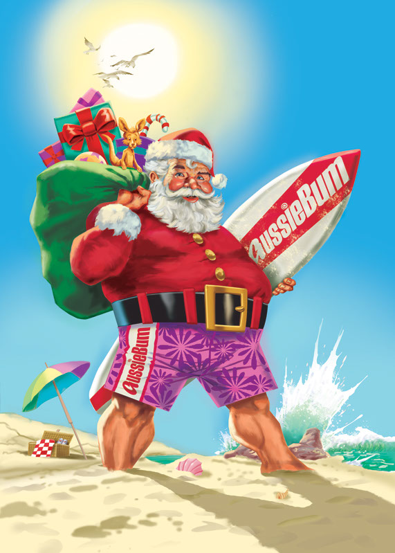 John Royle-retro-people-comics-cartoon-comic-book-Santa-on-beach-with-surfboard for-Aussiebum WEB