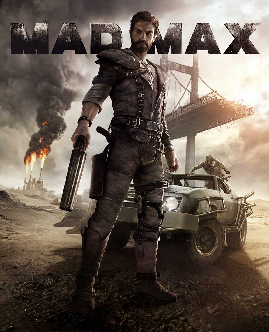 Mad Max game key art stading with gun and car