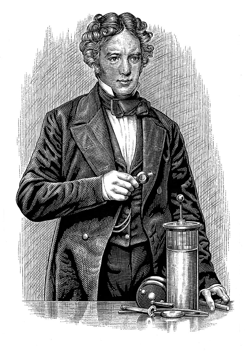 Michael-Faraday-ink etching portrait