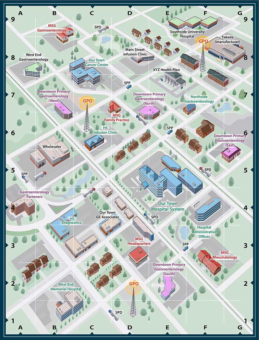 Our Town_Hospital System_Aerial Map