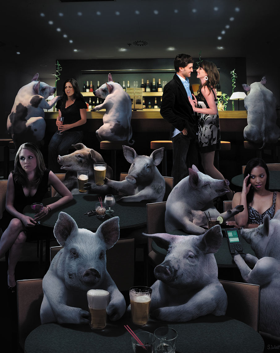 Photo-Imaging_Animals and Nature_Pigs in the bar-Stan Watts