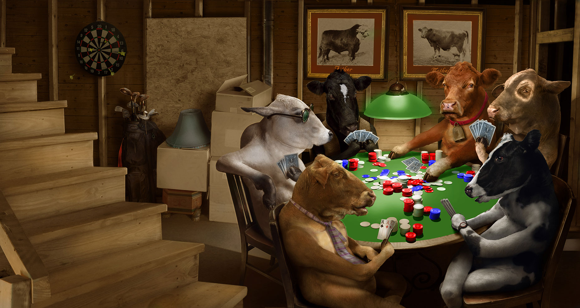 Photo-Imaging_Animals and Nature_Poker playing cows-Stan Watts