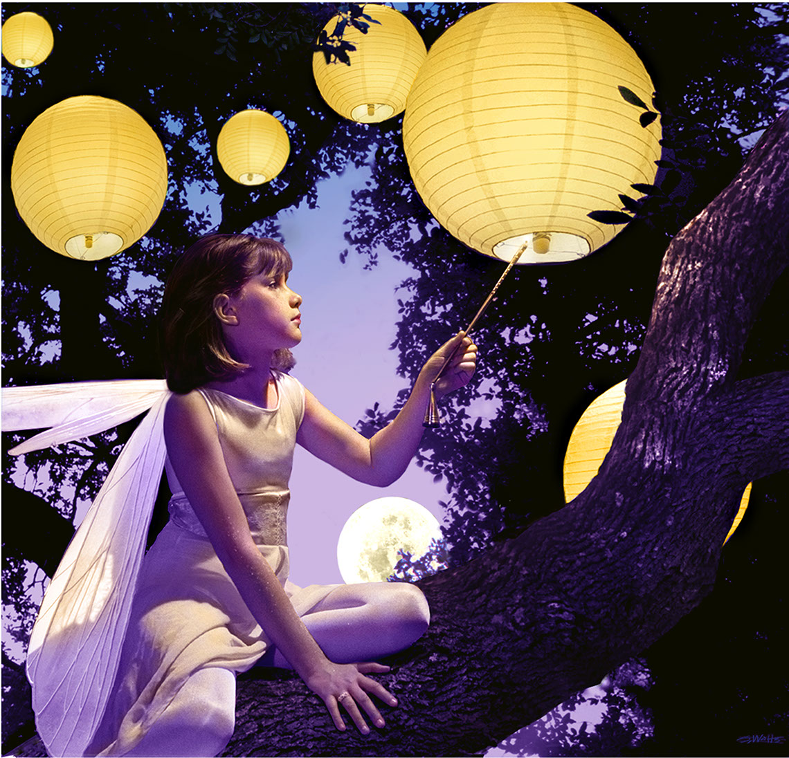 Photo-Imaging_People_Fairy girl in a tree with lanters-Stan Watts