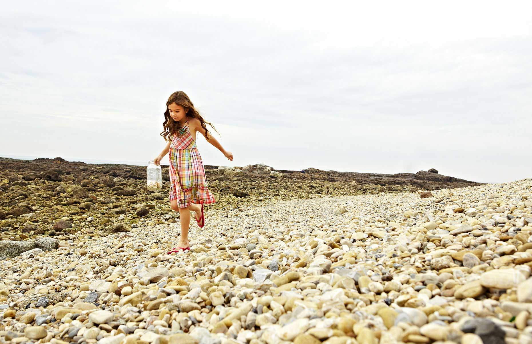 Photography_Children and Teens_Girl Collecting Shells at Beach-Tony Garcia