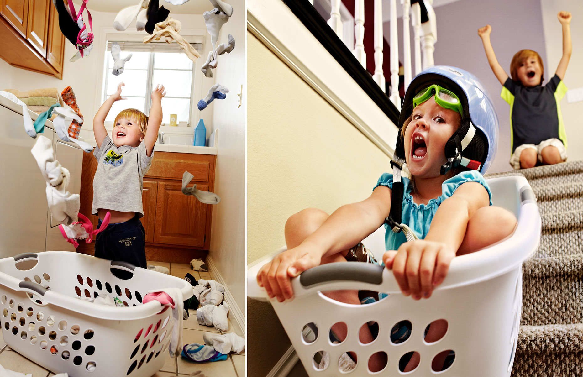 Photography_Children and Teens_Kids Laundry Games Sliding Down Stairs-Tony Garcia