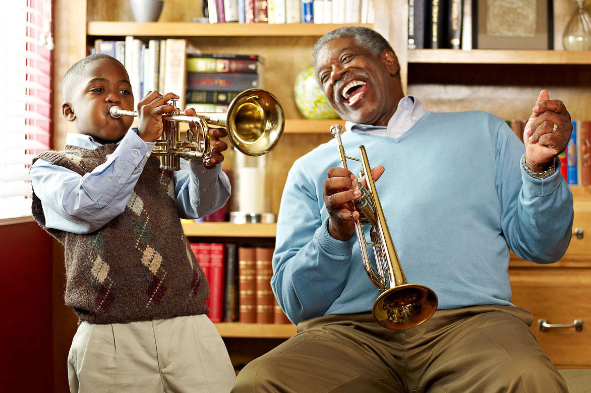 Photography_Family and Home_Grandfather and Son Trumpet-Tony Garcia