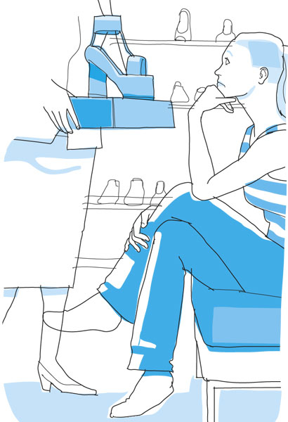 Picky Shoe Shopping Woman-Continuous line