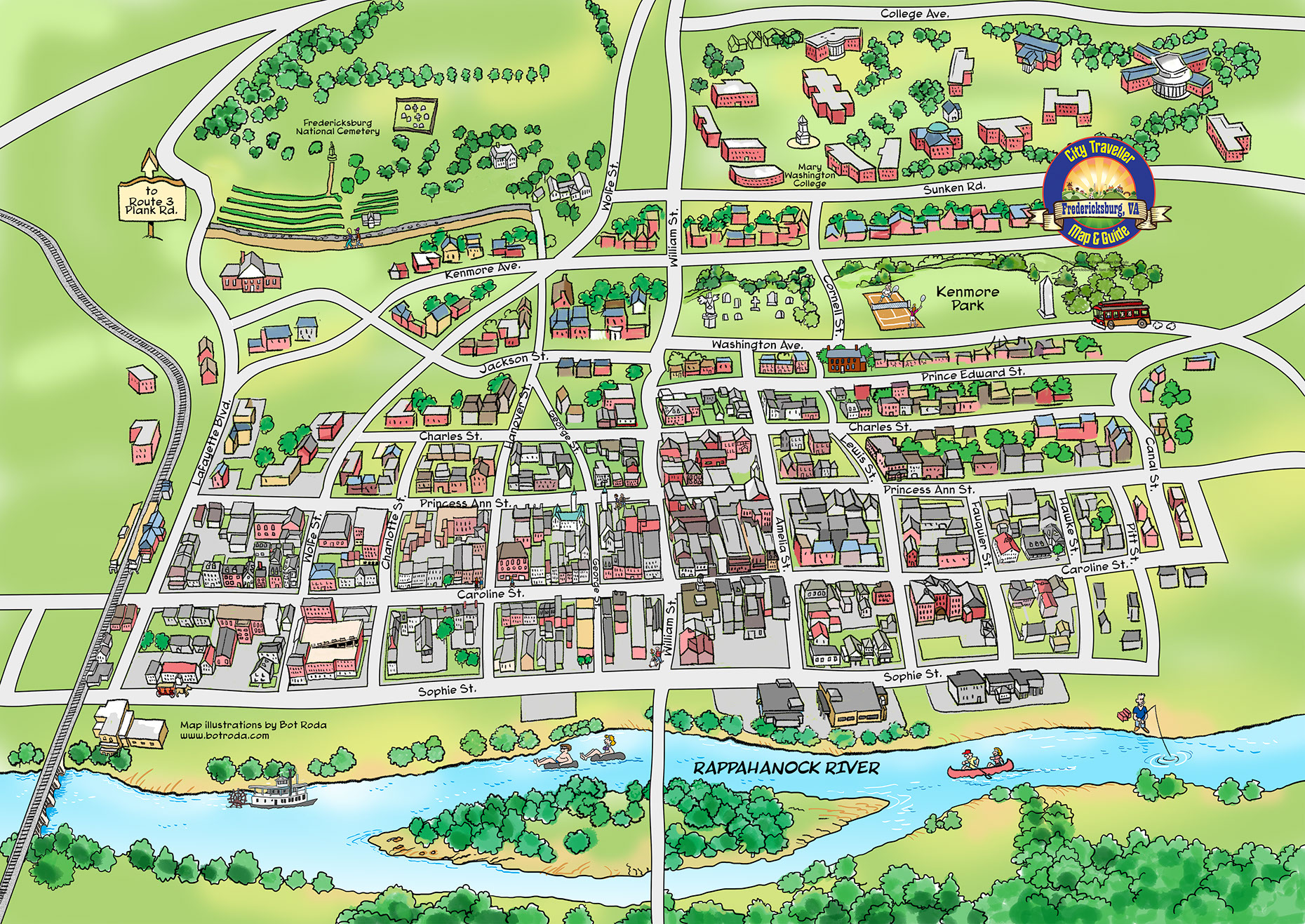 Places and Locations-Illustration_Architecture_Fredericksburg Virginia Map-Bot-Roda