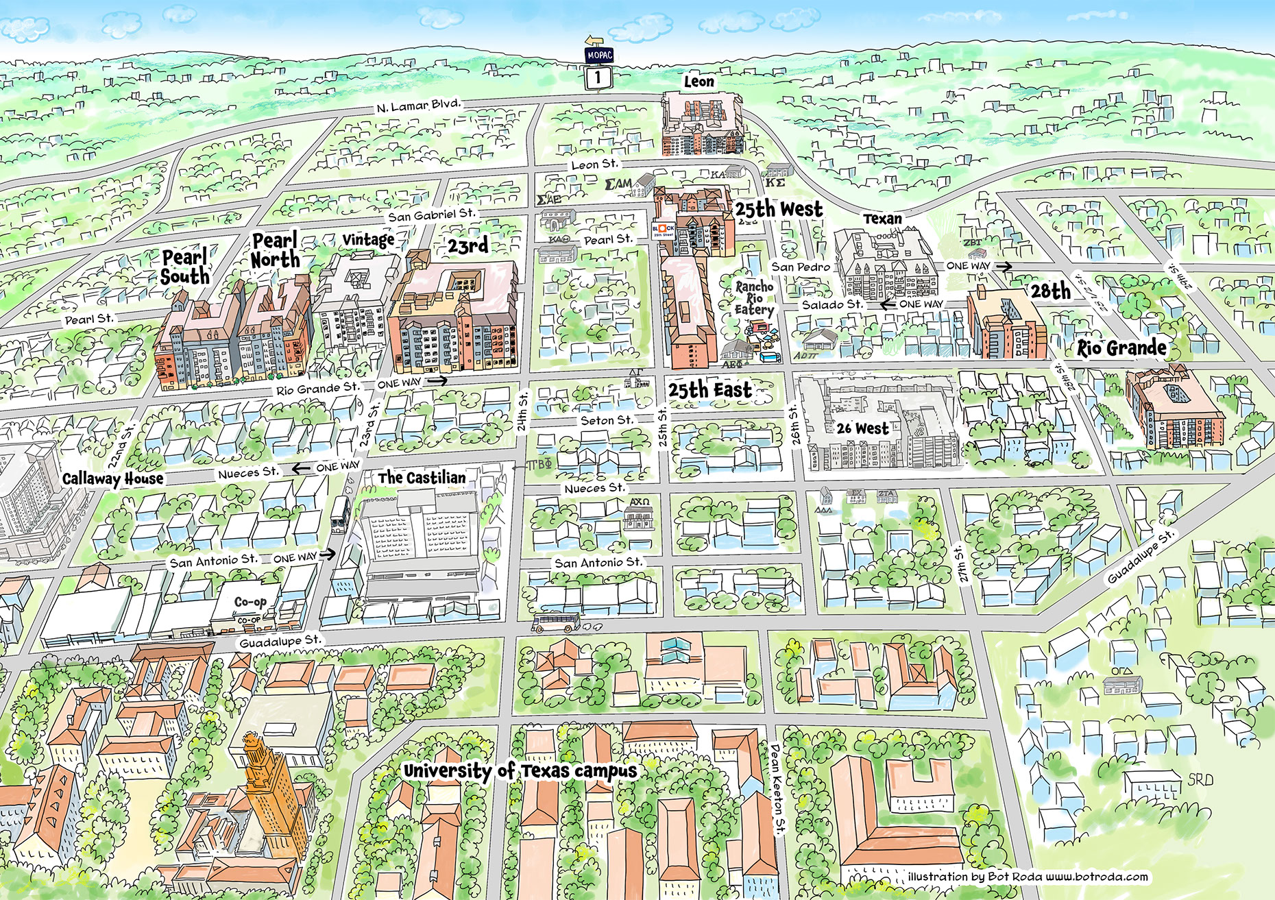 Places and Locations-Illustration_Architecture_University of Texas Austin map-Bot-Roda