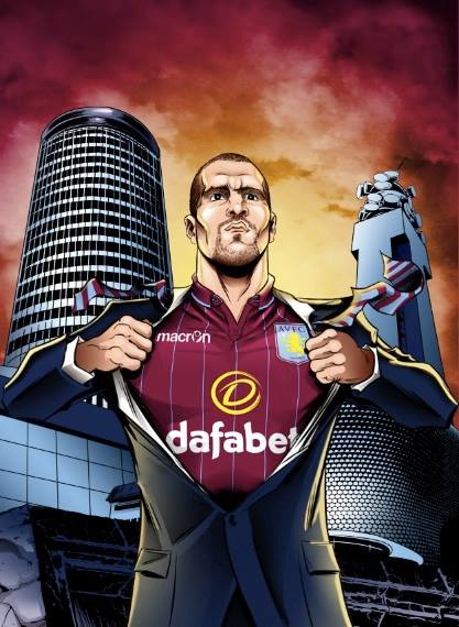Ron Vlaar of Aston Villa FC with City Background Superman Suit Opening