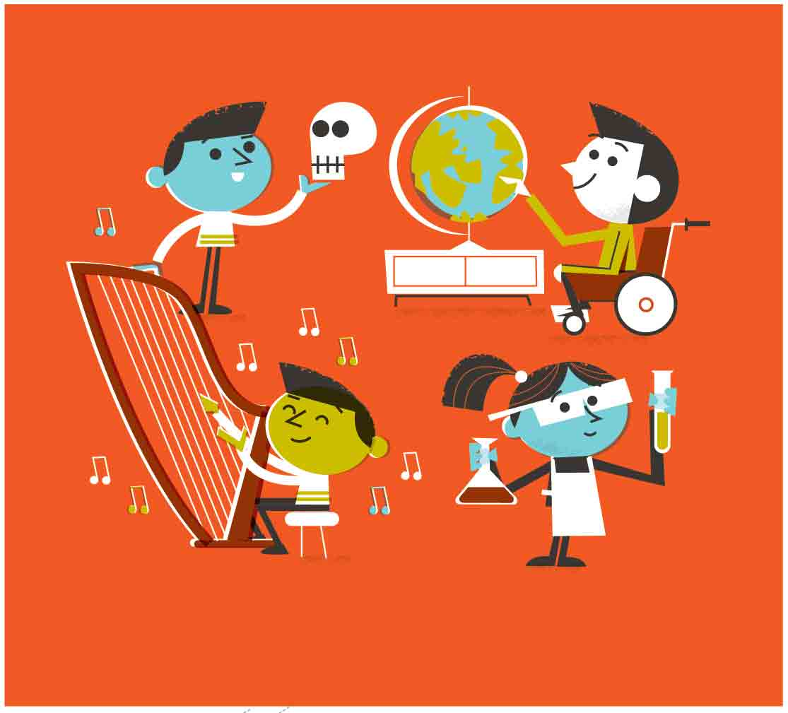 STEM kids-science-music playing harp-chemistry girl-boy in wheelchair with globe