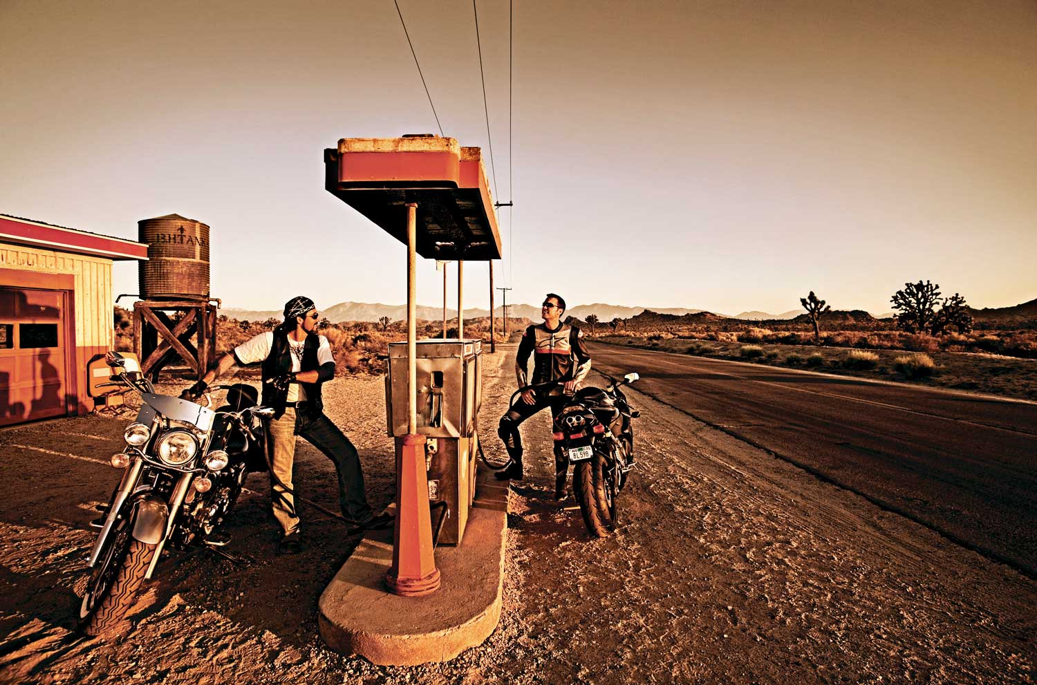Skoal_Bikers at desert filing station