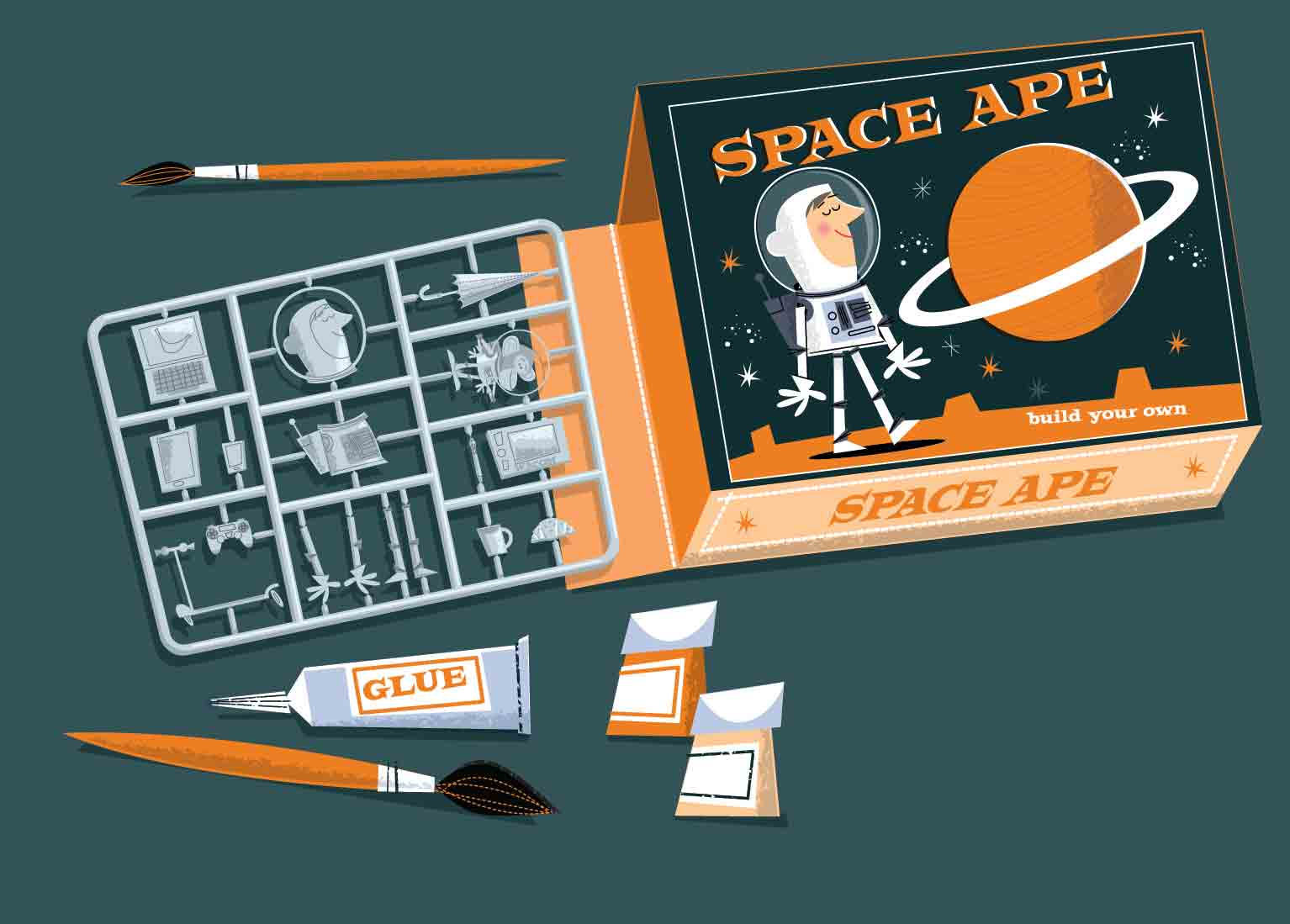 Space Ape astronaut box-build your own plastic model kit-with glue