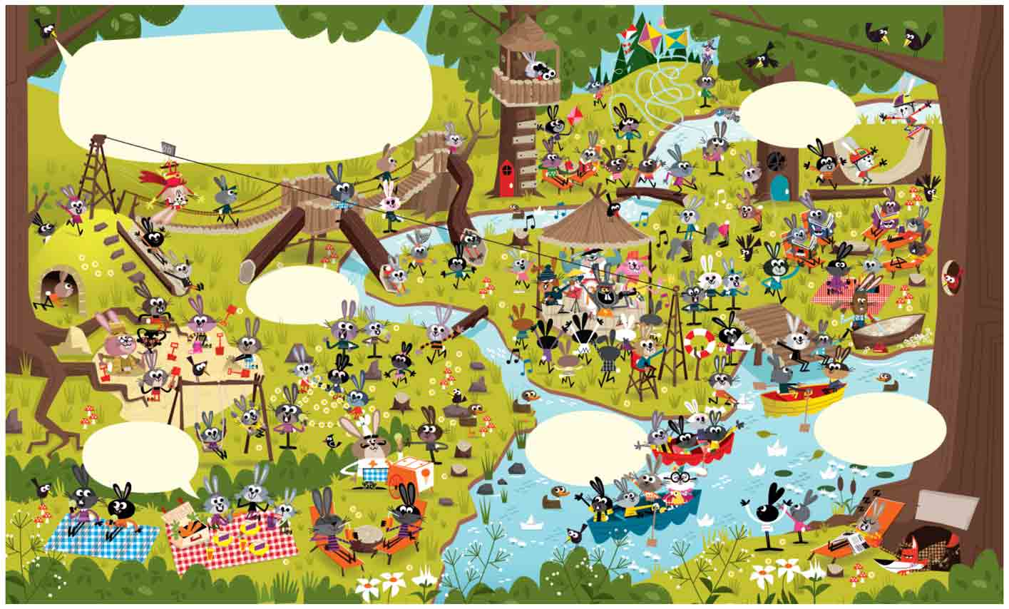 Summer-Camp-Zip line-boating-picnic-scenes-of-animated-Rabbits-inWheres-Waldo-find-it-scene
